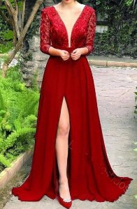 Vestido Vermelho Fenda Longo Festa Madrinha casamento Formatura