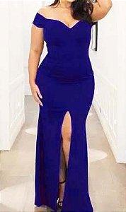 Vestido Plus Size Azul Royal Longo Festa madrinha casamento Formatura Estilo Sereia
