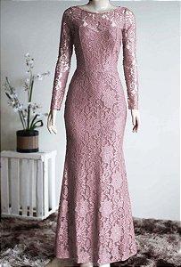 Vestido Rose manga Longa Renda Festa madrinha Casamento Formatura