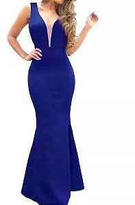 Vestido Longo Azul Royal Decote em V Com Tule Estilo sereia