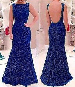 Vestido Longo Azul Royal Decote Costas  Festa Madrinha Casamento