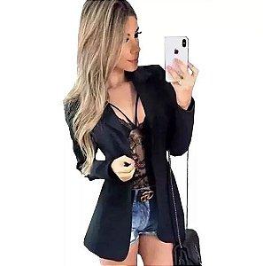 Blazer Slim Fit Feminino Acinturado Social Preto