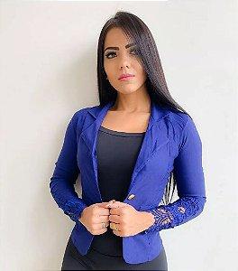 Blazer Feminino Azul Royal Social Slim Max Casaquinho