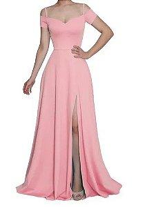Vestido Rosé Longo Festa Fenda Madrinha formatura