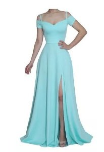 Vestido Azul serenity Longo Festa Fenda Madrinha formatura