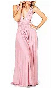 Vestido de festa Rosé Longo madrinha casamento Formatura