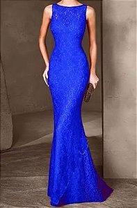 Vestido Azul Royal Longo Fechado Sereia Festa Madrinha casamento Formatura