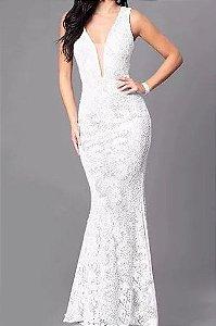 Vestido Branco Noiva casamento Decote Tule Estilo Sereia