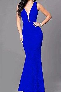Vestido Azul Royal Longo Madrinha de  casamento Decote Tule Estilo Sereia