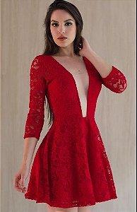Vestido Curto Feminino Vermelho Manga Longa Festa balada em Renda