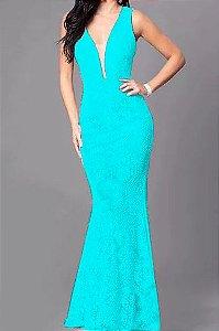 Vestido Azul Tiffany Longo Madrinha de casamento Decote Tule Estilo Sereia