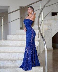 Vestido Festa Longo Azul Royal Sereia Renda Alça Fina Madrinha casamento