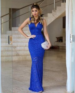 Vestido Longo Festa Azul Royal Renda Sereia Decote V com Tule