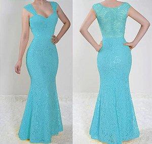 Vestido Azul Tifanny Longo Festa madrinha casamento sereia