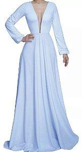Vestido Azul serenity Longo Festa Manga Longa Festa madrinha caamento Formatura
