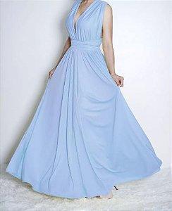 Vestido Azul serenity Rodado Festa Madrinha casamento
