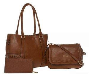 Bolsa Couro Feminina Marrom Transversal  Kit com 3 bolsas