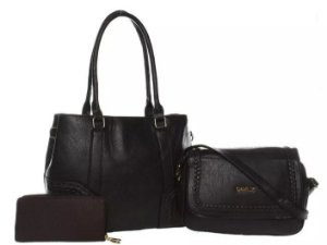 Bolsa Couro Feminina Preta Kit com 3 bolsas Transversal