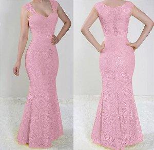 Vestido madrinha Casamento festa Renda Longo Sereia Rosé