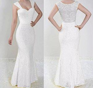 Vestido madrinha Casamento festa Renda Longo Sereia Branco
