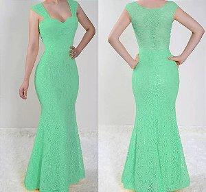 Vestido madrinha Casamento festa Renda Longo Sereia Verde Tiffany