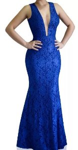 Vestido Longo Madrinha acompanhante Festa Renda decote V Tule Azul Royal