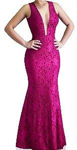 Vestido Longo Madrinha acompanhante Festa Renda decote V Tule Pink
