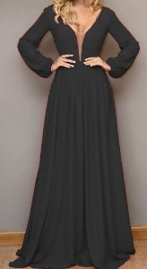 Vestido Madrinha Casamento Formatura Decote V Manga Longa Preto