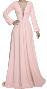 Vestido Madrinha Casamento Formatura Decote V Manga Longa Rosé