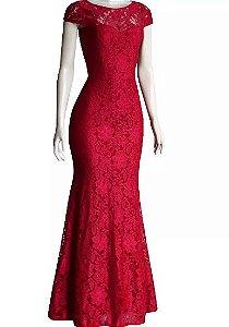 Vestido de Festa Madrinha casamento Formatura Sereia Manguinha Vermelho