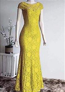 Vestido de Festa Madrinha casamento Formatura Sereia Manguinha Amarelo
