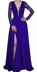 Vestido Longo Festa madrinha casamento Fenda Manga Longa Decote V Azul Royal