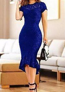 Vestido de Festa Midi Madrinha casamento Formatura Evangélico Azul Royal