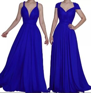 Vestido de Festa Longo Madrinha casamento Formatura Multi Formas Azul Royal