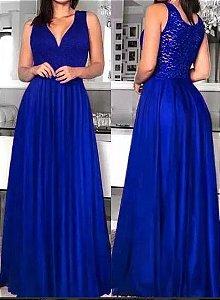 Vestido de Festa Longo Formatura Madrinha casamento Godê Azul Royal