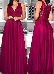 Vestido de Festa Longo Formatura Madrinha casamento Godê Pink