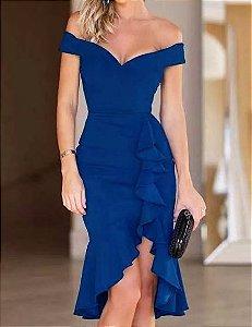 Vestido de Festa madrinha casamento Midi Ombro a Ombro Azul Royal