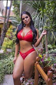 conjunto lingerie Feminino Fio dental com Bojo Vermelho