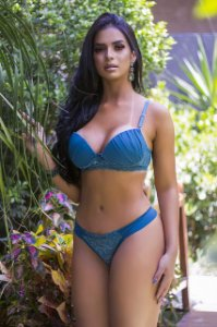 conjunto lingerie Feminino Fio dental com Bojo Azul Claro
