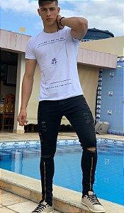 Calça Jeans Masculina Slim Fit Rasgada destroyed  Com Lycra Zíper preta