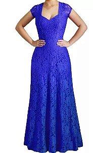 Vestido Longo Festa Madrinha Casamento Renda Guipir Alça larga Azul Royal