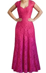 Vestido Longo Festa Madrinha Casamento Renda Guipir Alça larga Pink