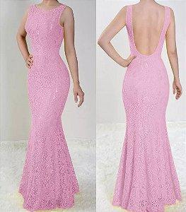 Vestido Rosé Longo Festa Sereia Madrinha Casamento Renda Costa nua