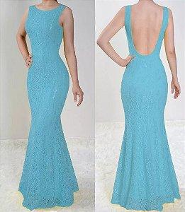Vestido Azul serenity Longo Festa Sereia Madrinha Casamento Renda Costa nua