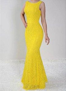 Vestido Amarelo Longo Festa Sereia Madrinha Casamento Renda Costa nua