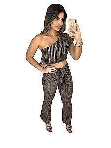 Conjunto Feminino Calça Pantacourt Cropped Top Blusa bojo