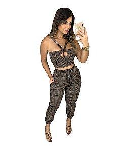 Conjunto Feminino Calça Pantacourt Cropped Top Blusa decote