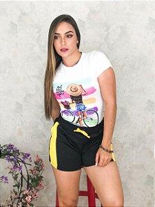 Blusa T-Shirt com Estampa Viscolaycra Branca