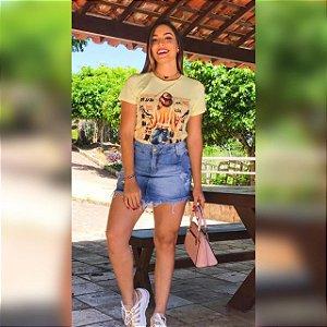 Blusa T-Shirt com Estampa Viscolaycra Amarela