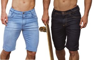 Bermuda Masculina Jeans Com Layca Slim Fit Original